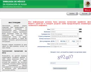 Образец заполнения электронного разрешения в Мексику