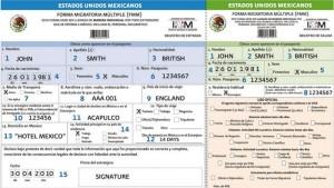 Образец заполнения миграционной карты в Мексику