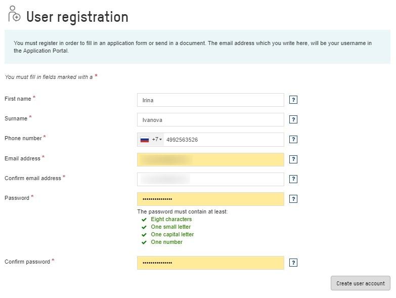Анкета на визу в Норвегию 2
