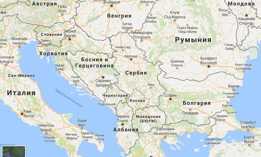 Черногория на карте Европы